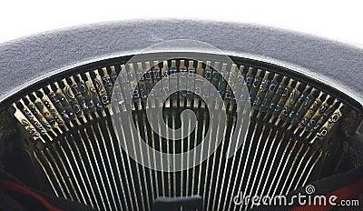 Vintage portable typewriter close up on type