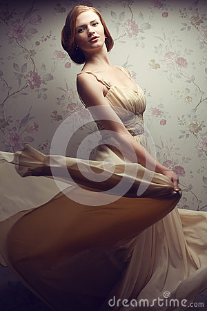 Free Vintage Portrait Of Happy Glamorous Red-haired Girl In Cool Dress Stock Photography - 46713862