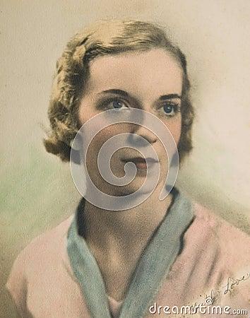 Vintage Portrait of Woman /Color