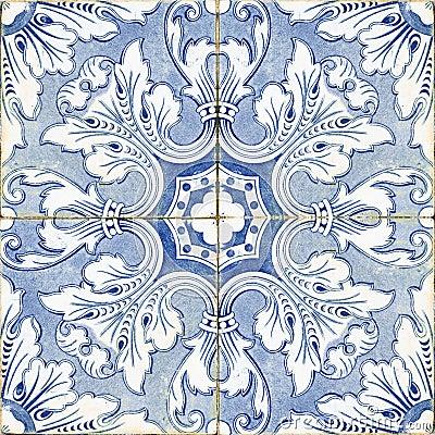 Vintage Portuguese Blue Tiles Stock Photo Image 33218990