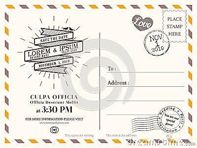 Vintage Postcard Save The Date Background For Wedding Invitation – Wedding Postcard