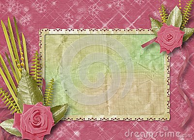 Vintage postcard for congratulation with roses