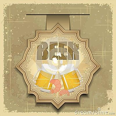 Vintage postcard, cover menu - Beer, beer snack