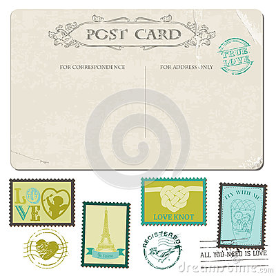 Vintage Postcard And Postage Stamps Stock Photos Image 29918473