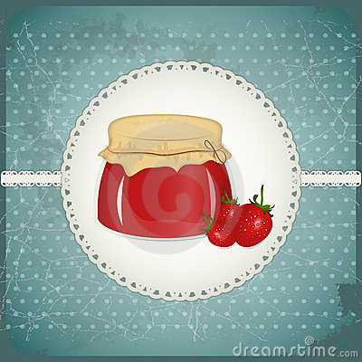 Vintage Postcard - strawberry jam