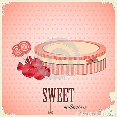 Vintage postcard - sweet candy on pink background