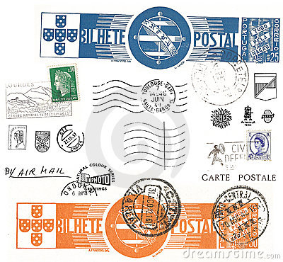 Free Vintage Postcard Symbols And Stamps Stock Photography - 4163332