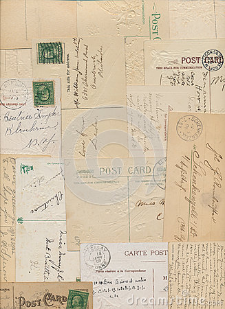 Vintage postcards and stamps