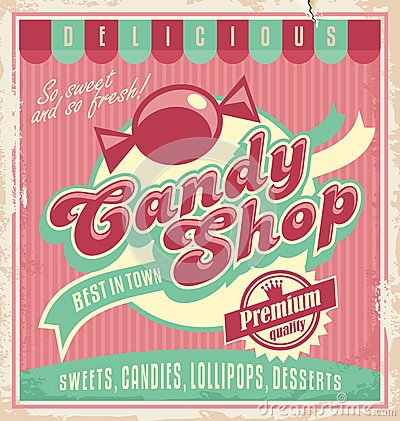 Free Vintage Poster Template For Candy Shop. Royalty Free Stock Images - 34902289