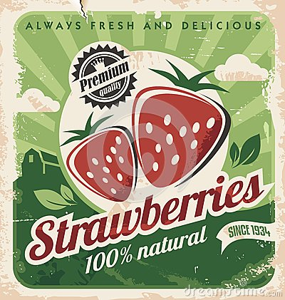 Vintage poster template for strawberry farm