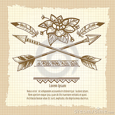 Free Vintage Poster With Arrows And Flower Royalty Free Stock Photo - 83508445