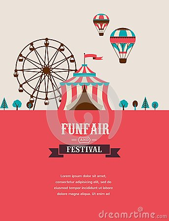 Free Vintage Poster With Carnival, Fun Fair, Circus Royalty Free Stock Images - 50552589