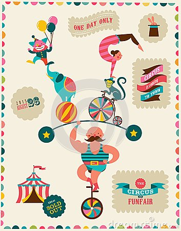 Free Vintage Poster With Carnival, Fun Fair, Circus Royalty Free Stock Image - 50552686