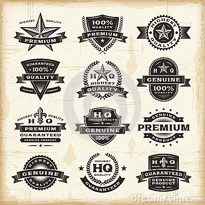 Free Vintage Premium Quality Labels Set Stock Photo - 29732770