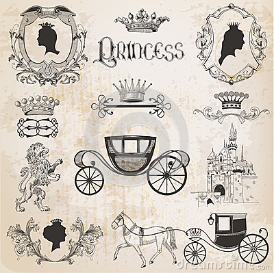 Free Vintage Princess Girl Set Royalty Free Stock Images - 37123119