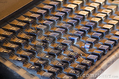 Vintage Printing Press Keyboard Covered in Dust and Grit
