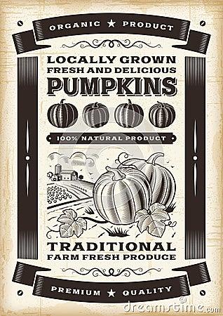 Free Vintage Pumpkin Harvest Poster Stock Image - 46110681