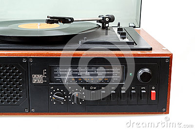 Vintage radio gramophone player with vinyl