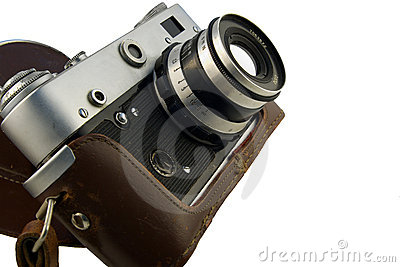 Vintage rangefinder camera in case