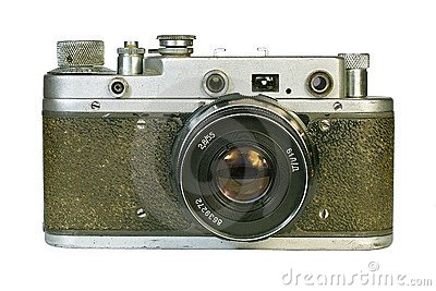 Vintage rangefinder camera front view.