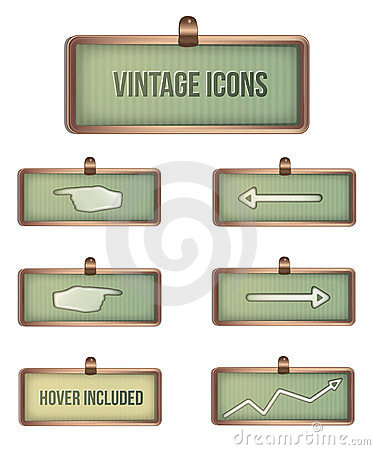 Vintage rectangular icons