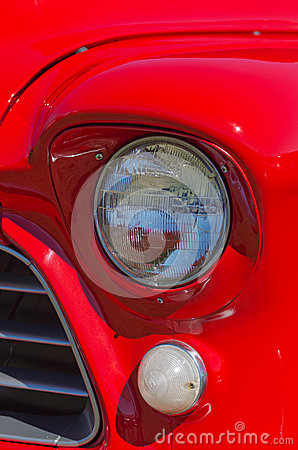 Vintage Red American Truck Headlights