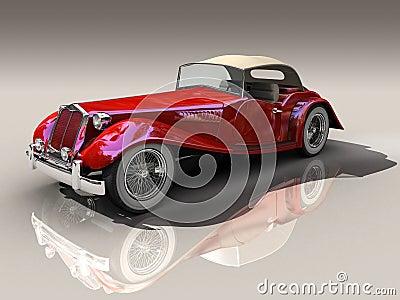 Vintage red car 3D model