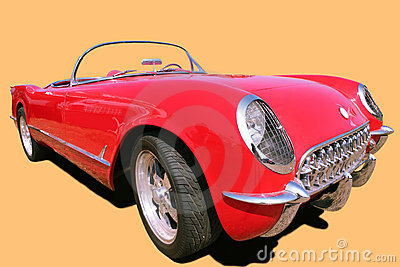 Vintage Red Car 70 s