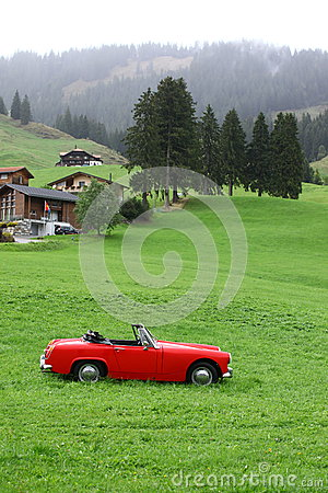 Free Vintage Red Car At Swiss Royalty Free Stock Photo - 59732145