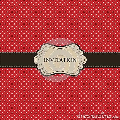 Vintage red card, polka dot design