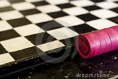 Vintage Red Checkers and Checker Board