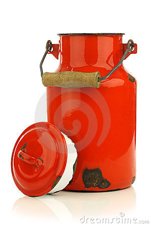 Vintage red enamel milk can