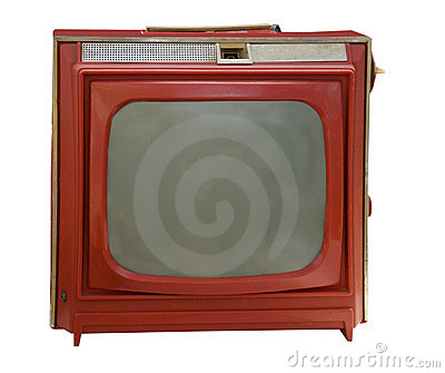 Vintage red portable television