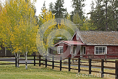 Vintage Red Ranch House In Autumn