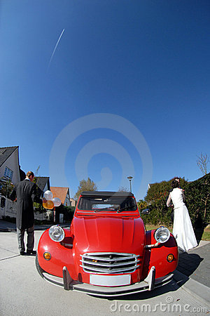 Vintage red wedding car