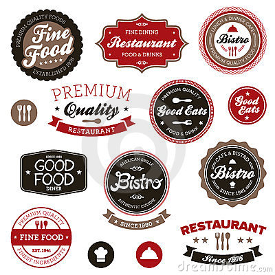 Free Vintage Restaurant Labels Royalty Free Stock Photos - 23381058