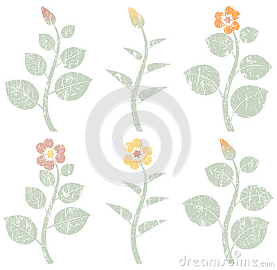Free Vintage Retro Abstract Flowers, Grunge Design Elements Royalty Free Stock Photo - 52593925