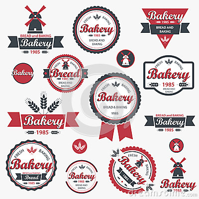 Vintage retro bakery badges and labels.