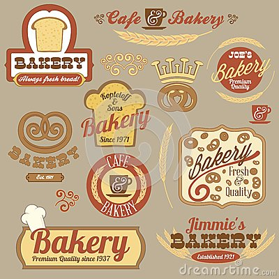 Vintage retro bakery logo badges