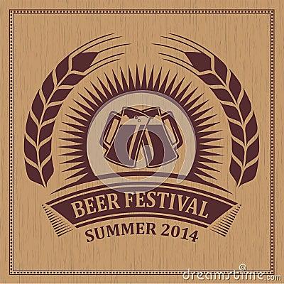 Vintage retro beer festival icon symbol - vector design
