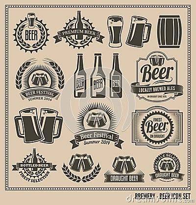 Free Vintage Retro Beer Icon Set Stock Image - 39691491