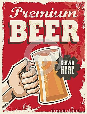 Free Vintage Retro Beer Poster Stock Image - 39357211