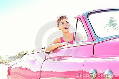 Vintage retro car woman