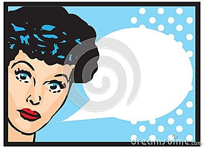 Vintage Retro Clip Art Woman Advertisement Pop Art Girl Talking