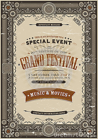 Free Vintage Retro Festival Poster Background Royalty Free Stock Photography - 52153177