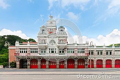 Vintage retro fire station building