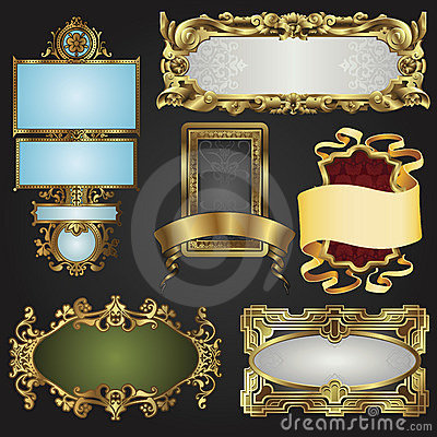 Free Vintage Retro Gold Frames And Labels Stock Photo - 18329990