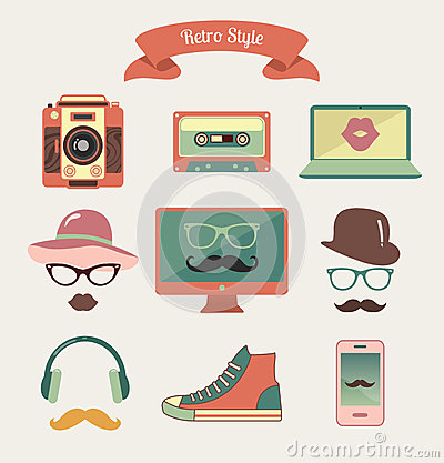 Free Vintage Retro Hipster Style Media Icons Royalty Free Stock Photography - 39848937
