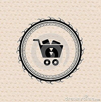 Vintage retro label : shopping cart icon