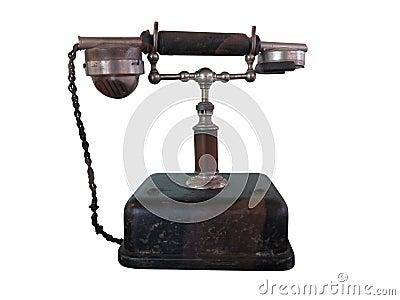 Vintage retro phone isolated on white